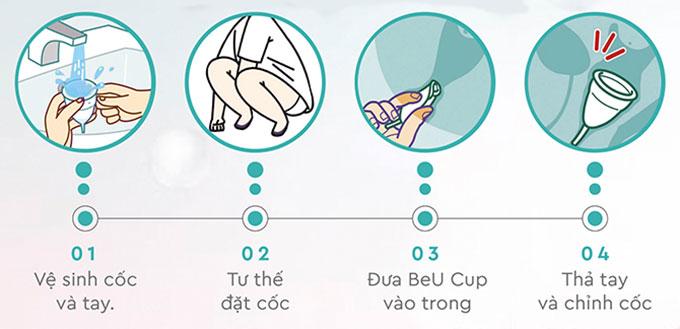 cách đặt cốc nguyệt san beucup vào trong cô bé