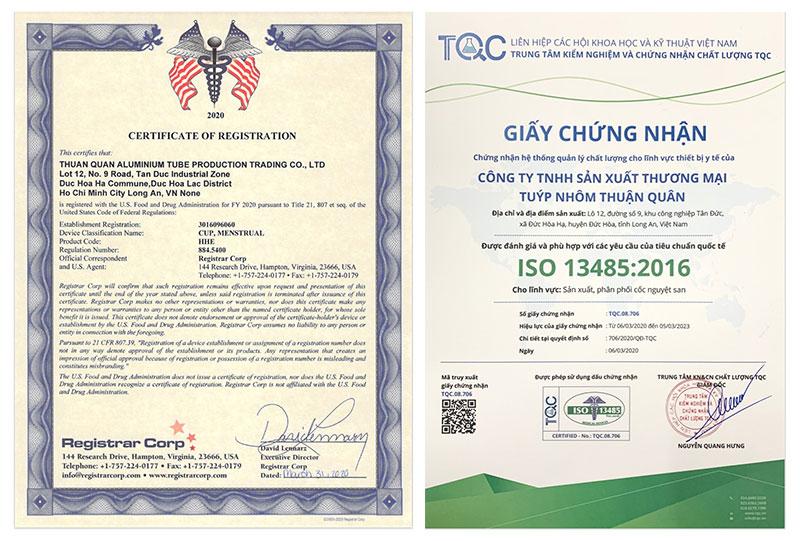 Cốc nguyệt san BeU Cup đạt chứng nhận của FDA Hoa Kỳ và ISO 13485:2016