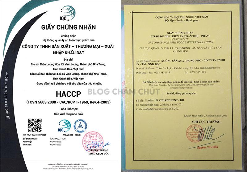 giấy chứng nhận an toàn thực phẩm rong nho sabudo