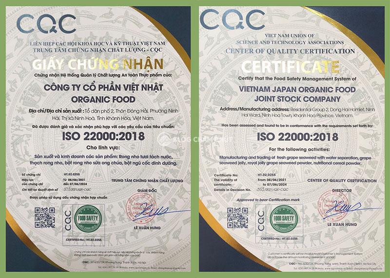 giấy chứng nhận an toàn thực phẩm của nhà máy sản xuất rong nho yukibudo