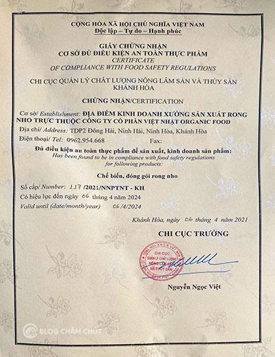 giấy chứng nhận rong nho yukibudo